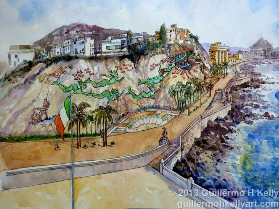 Artist Guillermo H. Kelly's rendition of sculptural mural and architectural design proposal with Cerro de la Nevería for the Mazatlán Mural Project Paseo Olas Altas