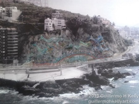 Photograph of Mazatlán Mural Project Paseo Olas Altas  proposal with Cerro de la Nevería